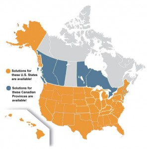 image: USA and Canada solutions map